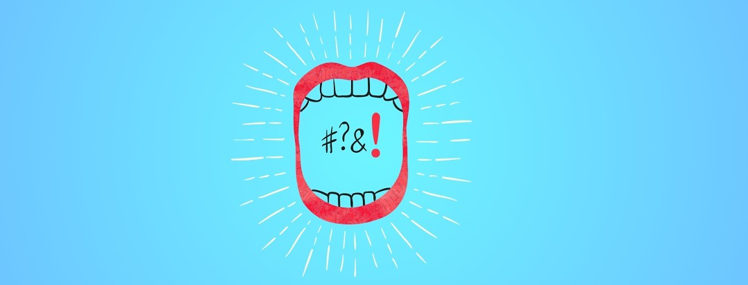 An open mouth with keyboard symbols inside, symbolizing Mouth Sores and Other Oral Symptoms associated with IBD.
