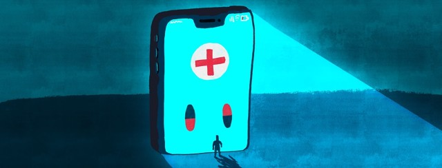 giant phone with medical icon towering over person