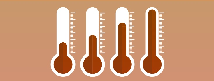 thermometers increasing in temperature