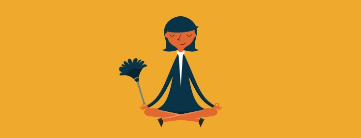 woman meditating with a duster