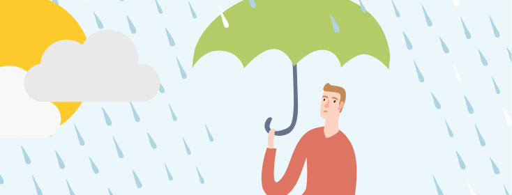 Man in rain with umbrella