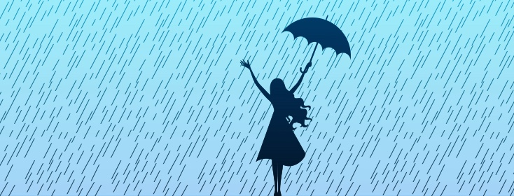 woman in rain with umbrella