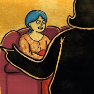 Woman in shadow, with her arms spread open, explaining her diagnosis to person sitting on a couch