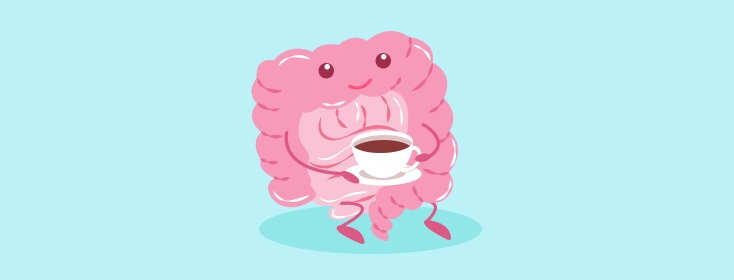 a colon drinking coffee