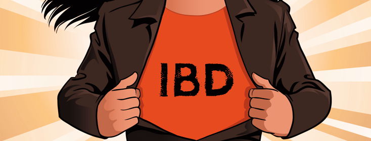 woman opening jacket to reveal shirt with IBD on it