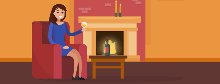 woman with wine by fire