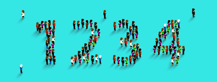 people lined together to form numbers