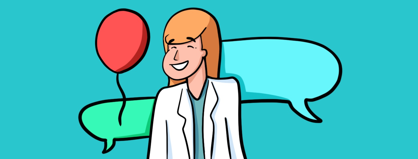 happy female doctor standing in front of chat bubbles and balloon