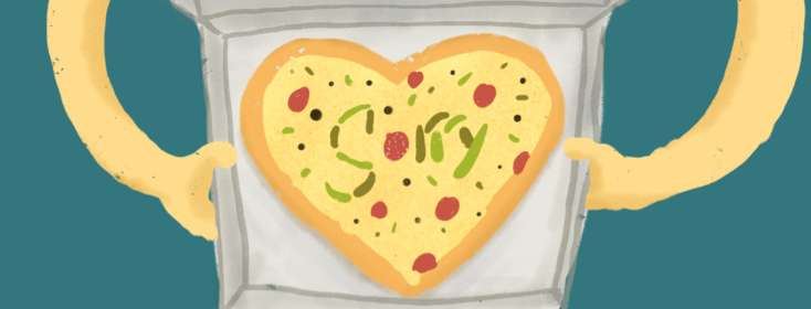 sorry spelled out in a pizza