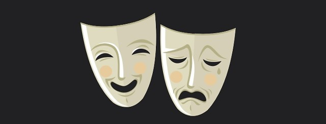 Two masks. One is happy, one looks sad.