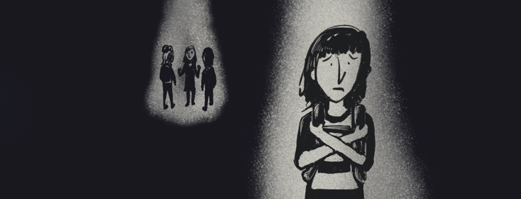 Black background with one girl looking sad by herself and a group of 3 people behind her in a clique.