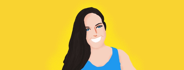 Illustrated picture of the interviewee. She is white with brown hair, and is wearing a blue shirt and has a nose ring. The background is yellow.