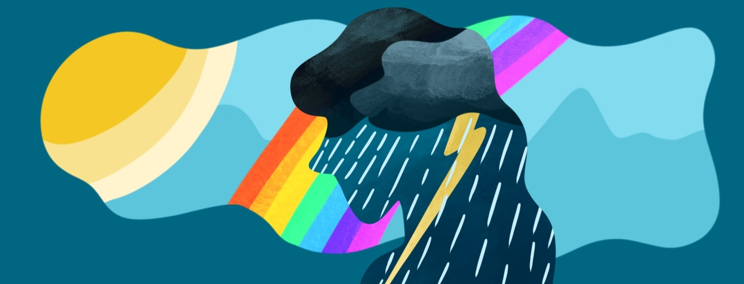 woman imagining a sunny day with a rainbow, but has a storm within her