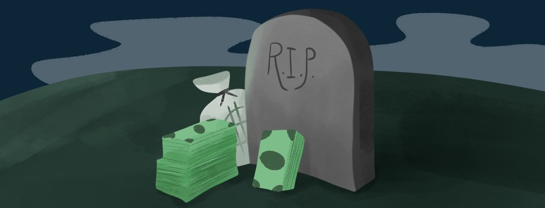 tombstone surrounded by money