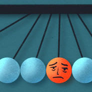 a newton's cradle with a sad, tired face in the middle ball