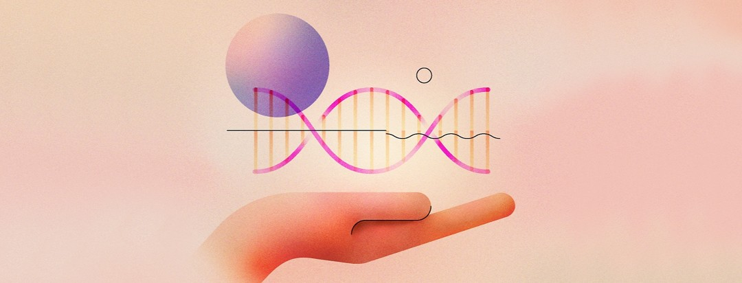 hand holding dna