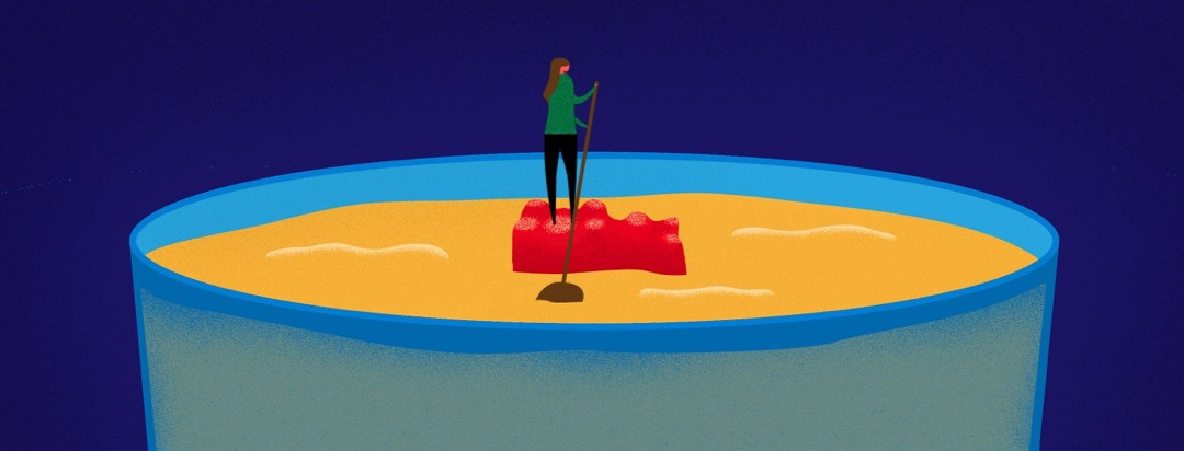 woman sailing across a drink on a gummy bear raft