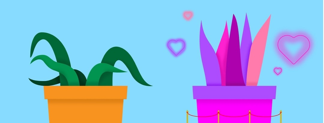 two plants, one is wilted and one is colorful and surrounded by hearts