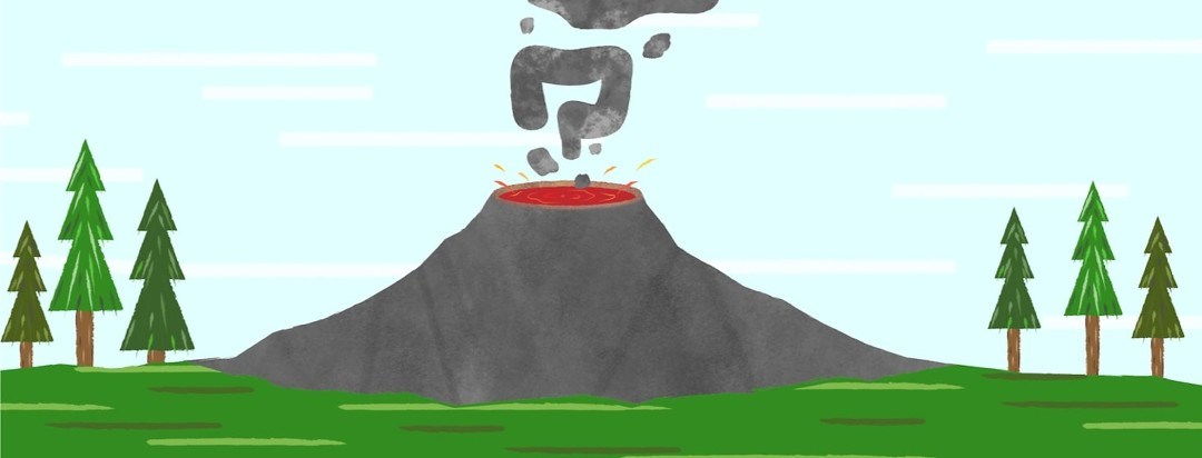 a volcano smoking with a colon in the clouds