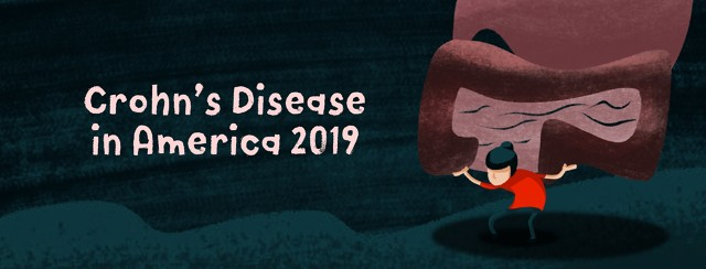 """A person struggling to hold up intestines on their back with text that reads """"Crohn's Disease in America 2019."""""""