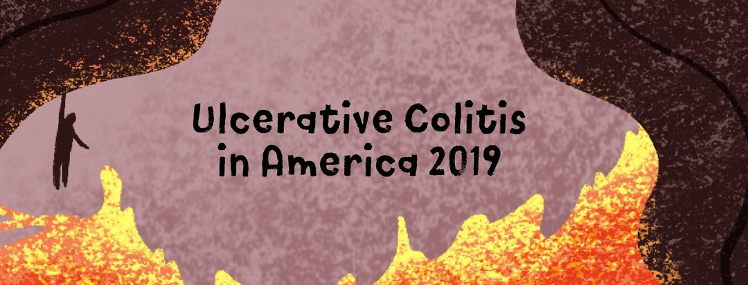 """A person hanging onto a cliff with flames below and text that reads """"Ulcerative Colitis in America 2019."""""""