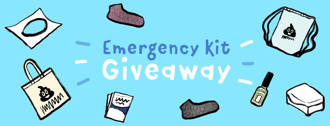 Emergency Kit giveaway items including tote bag, socks, wipes and more