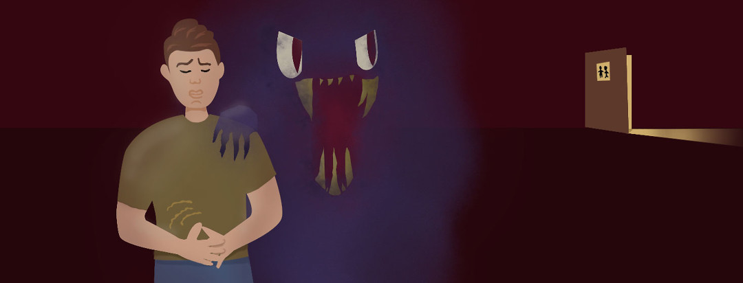 man grips stomach in pain while a monster representing gas stands behind him eyes shifted toward a bathroom far away
