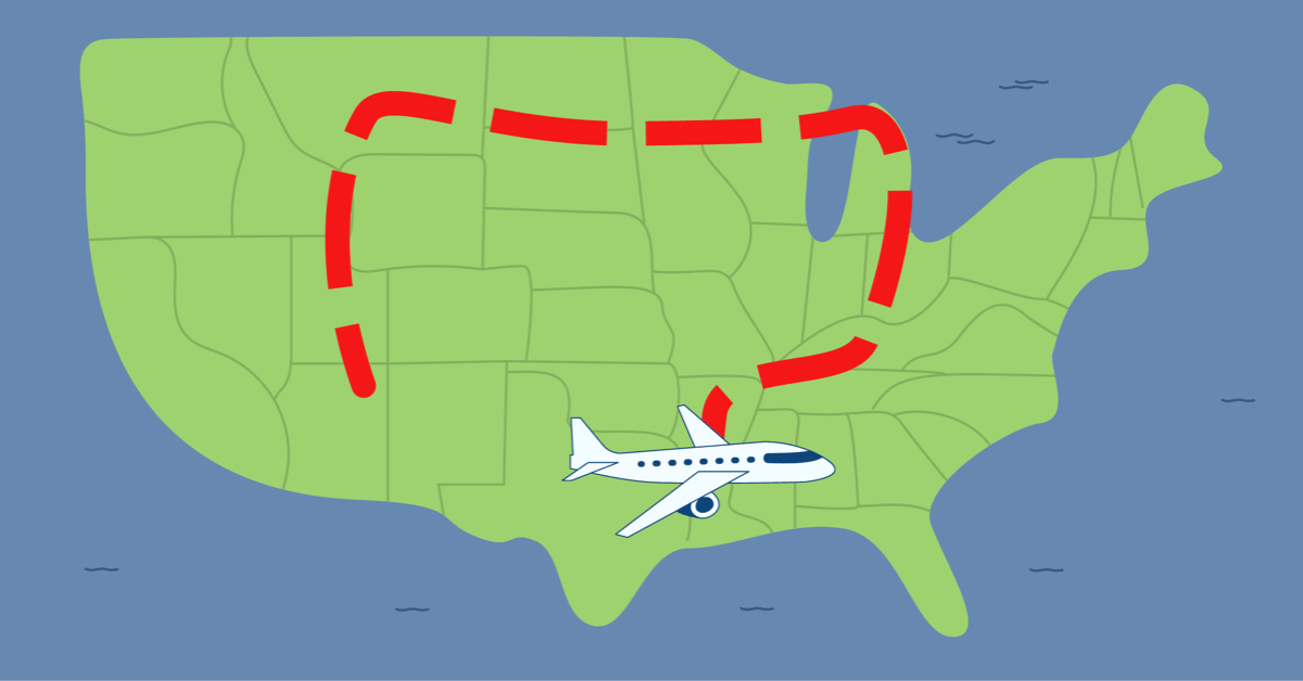 Plane flight path that is shaped like a colon