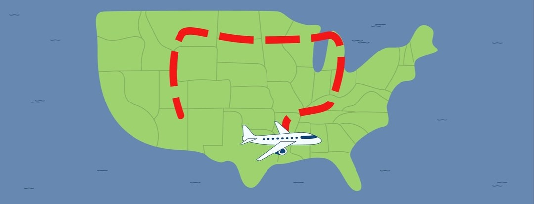 Plane flight path that is shaped like a colon