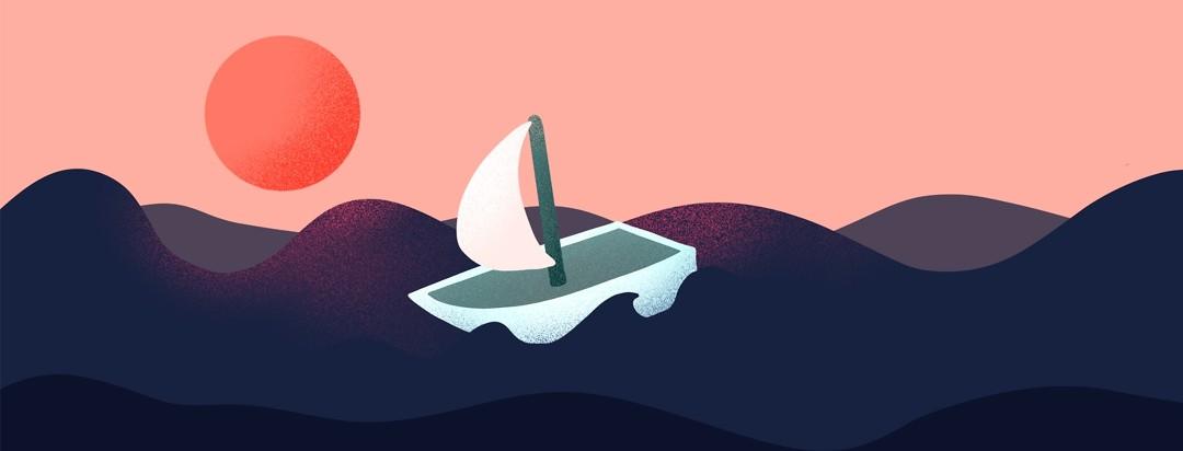 sailboat in a wavy ocean