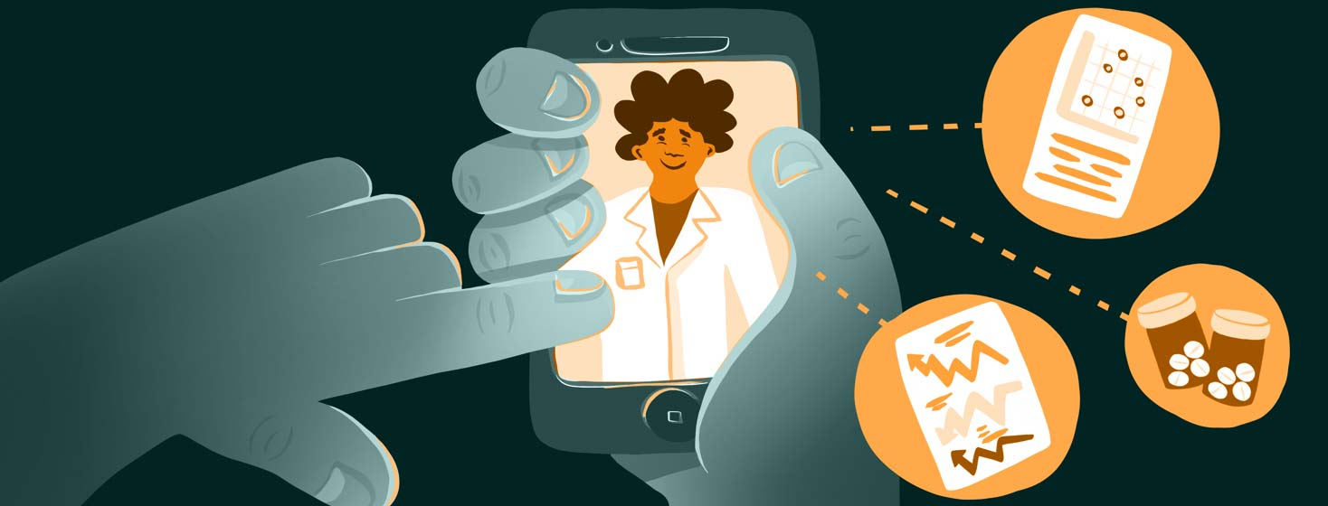 A person accepts a telehealth call on their smartphone, with the doctor pictured on the screen and certain documents and medications showing preparedness featured in bubbles
