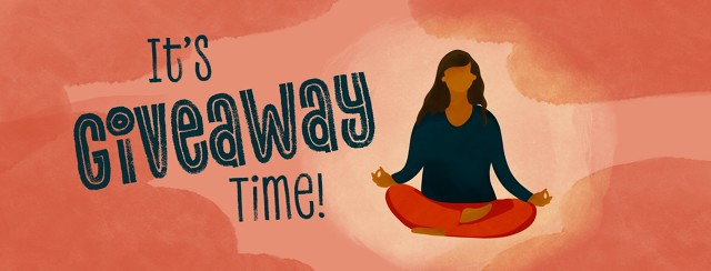 woman meditating in lotus position with text it's giveaway time