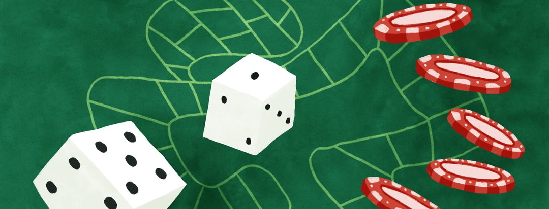 craps table shaped like a digestive tract with dice and chips