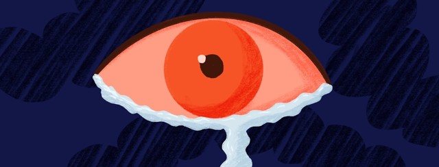 a red eye with a stream of tears