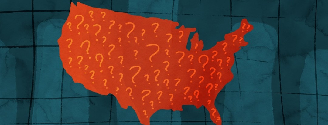 united states of america filled with question marks with a graph in the background