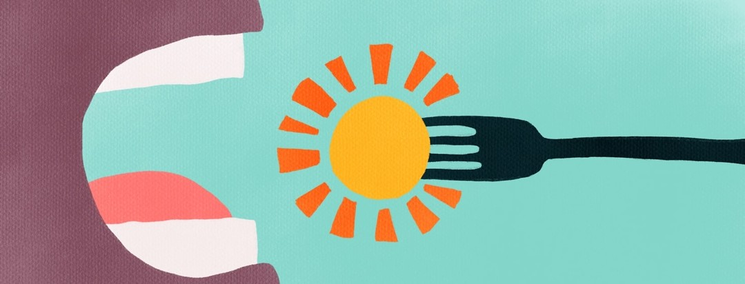 person eating the sun with a fork