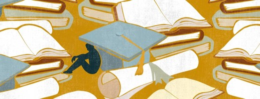 A sad figure sits hunched underneath of a large graduation cap, with diplomas and books scattered throughout