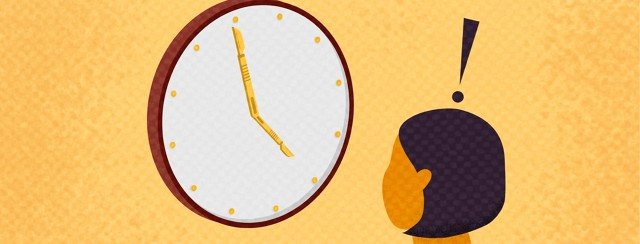 a woman looking at a clock and the arrows are scalpels
