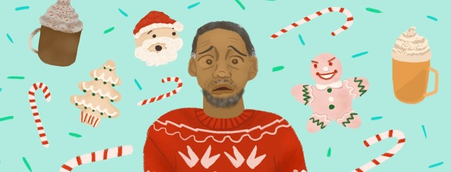 A man in a holiday themed sweater looks anxious with holiday treats like a Santa cookie, gingerbread, candy canes, and sprinkles floating around him.