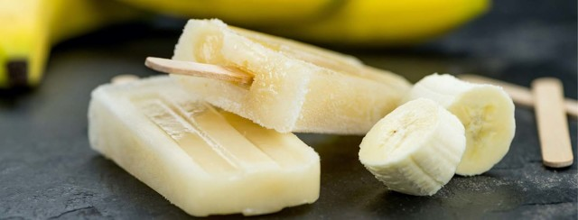 Banana coconut and lime ice lollies image