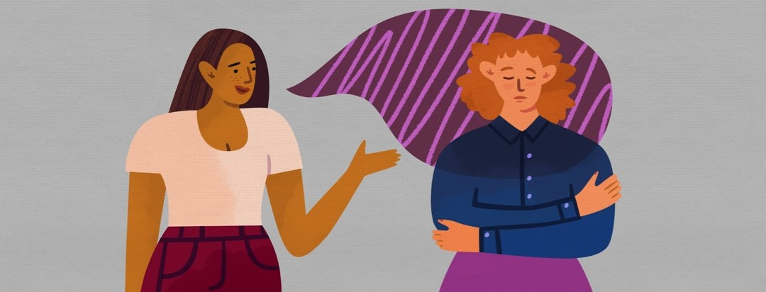 Sad woman holding her stomach engulfed by speech bubble coming from a woman giving advice.