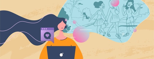 A woman sitting at a laptop thinking about her pre-diagnosis life where she would be able to go out and about with friends.