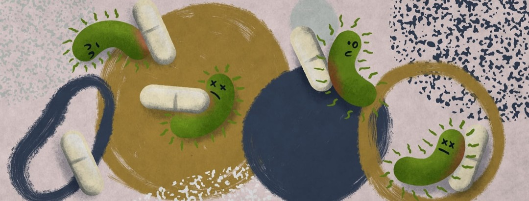 Healthy bacteria and antibiotic tablets colliding and bumping into each other.