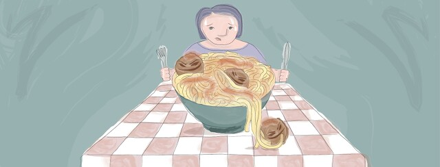 A woman sweating while staring at a big bowl of spaghetti and meatballs.