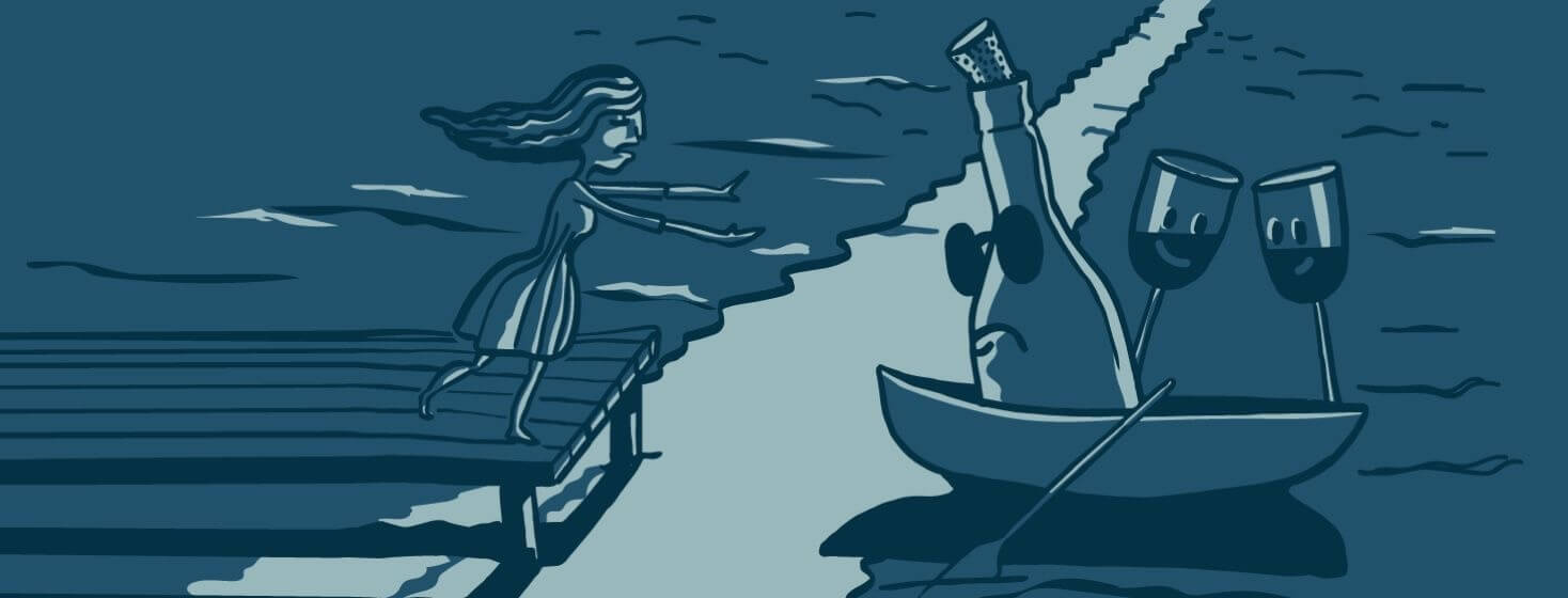 A woman on a dock reaching out toward a bottle of wine rowing away in a boat.