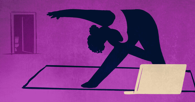 A silhouette of a woman doing exercises in front of her computer. She is doing yoga. In the background, you see a bathroom door open.