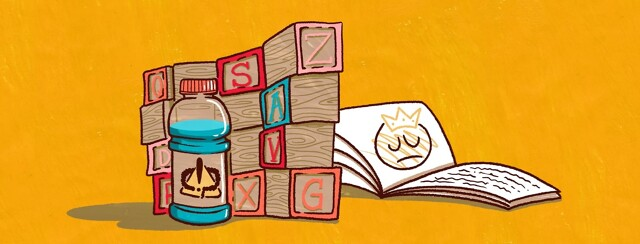 A wall of blocks separates a sports drink with an exclamation and colon symbol on it and children's book with a sad princess on a page.