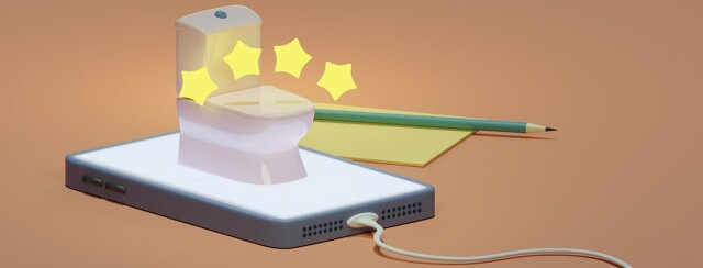A toilet sitting on top of a cell phone. There are four stars hovering over the toilet. In the background is a pencil and post it.