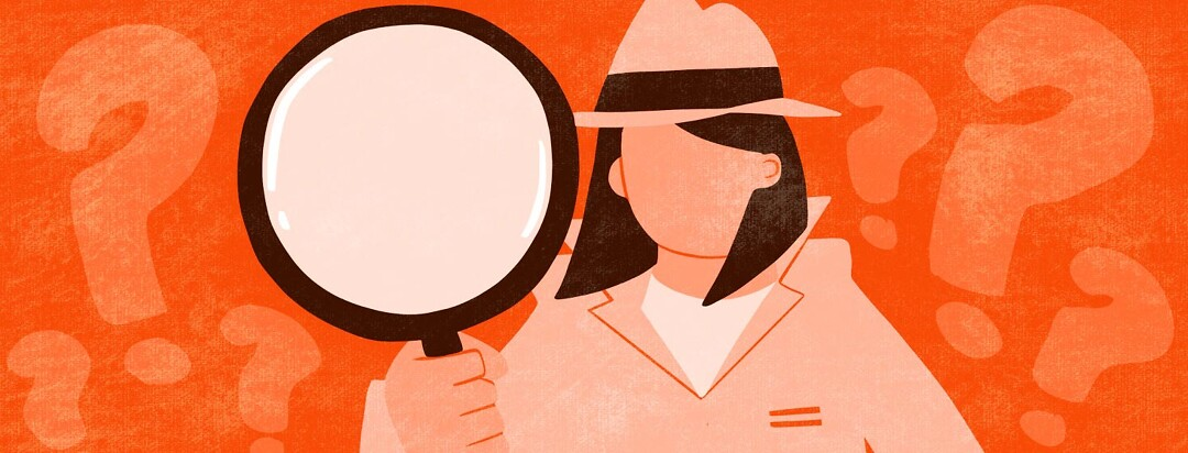 A woman in detective clothing holds up a magnifying glass.