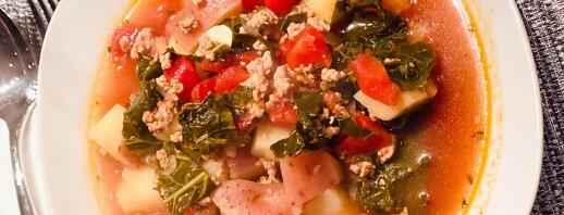 Turkey, Spinach, & Potato Soup image